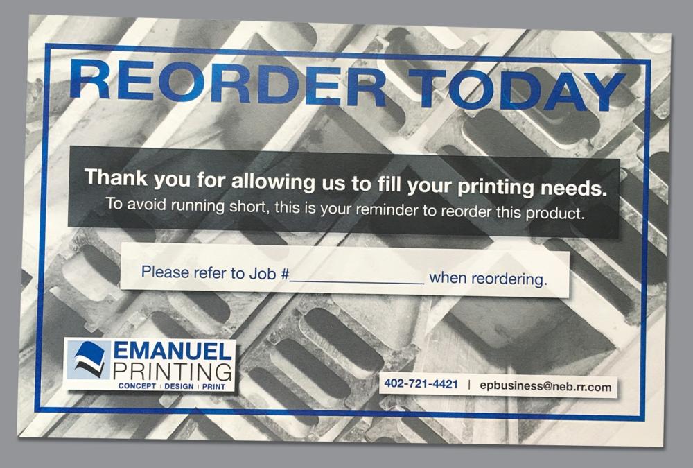 Reorder form (postcard–front)